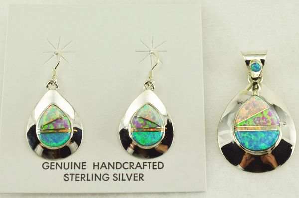 Sterling silver white, blue and pink opal inlay teardrop earrings and pendant set. S170