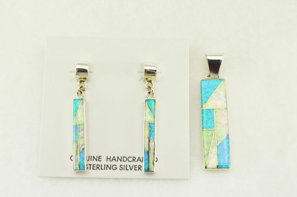 Sterling silver white, blue and pink opal inlay rectangle earrings and pendant set. S172
