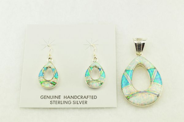 Sterling silver white, blue and pink opal inlay hollow raindrop earrings and pendant set. S174