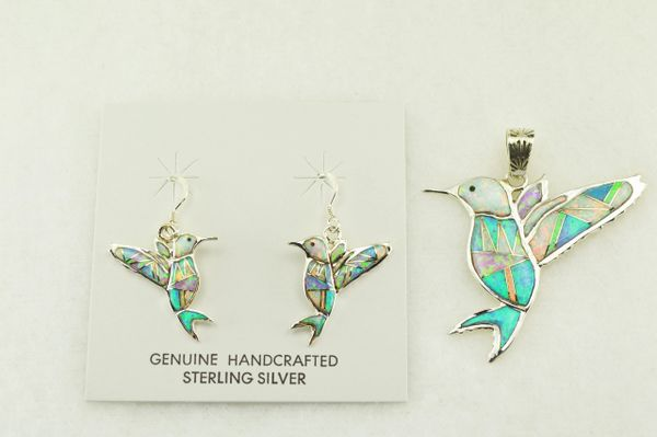 Sterling silver white, blue and pink opal inlay hummingbird earrings and pendant set. S175
