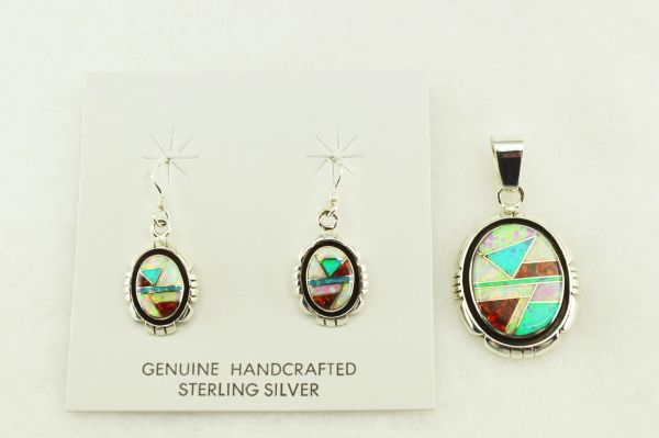 Sterling silver white, blue, black and pink opal inlay edged oval earrings and pendant set. S177