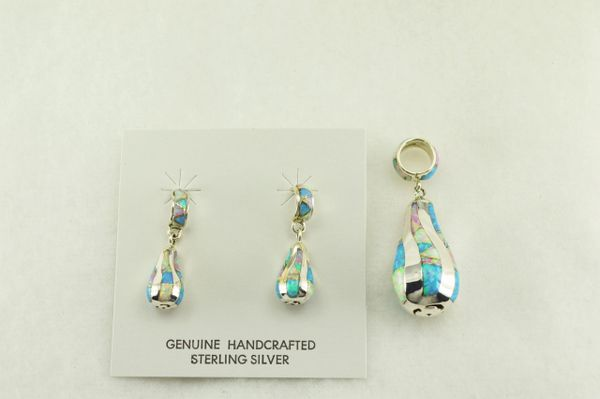 Sterling silver white, blue and pink opal inlay twisty pear earrings and pendant set. S179