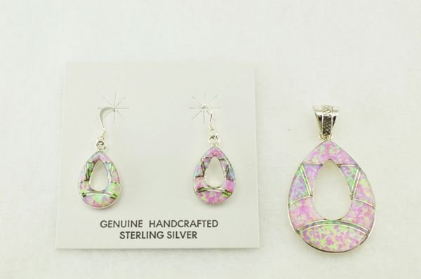 Sterling silver pink opal inlay hollow teardrop earrings and pendant set. S180