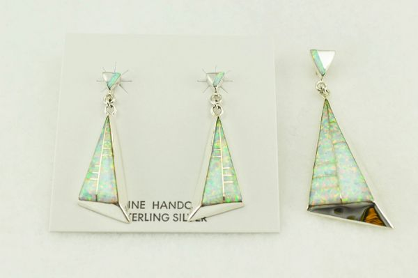 Sterling silver white opal inlay triangle earrings and pendant set. S189