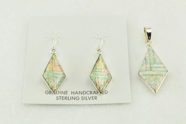 Sterling silver white opal inlay diamond earrings and pendant set. S190