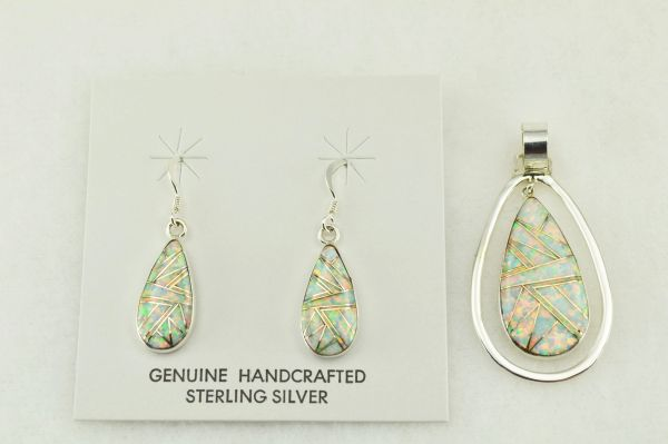Sterling silver white opal inlay teardrop earrings and pendant set. S191