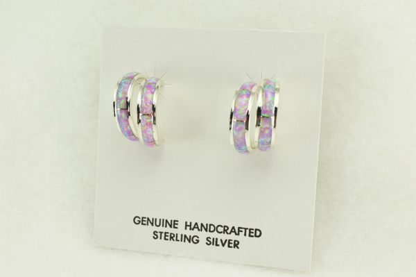 Sterling silver pink opal inlay double hoop post earrings. E359
