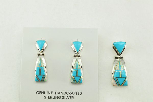 Sterling silver turquoise and white opal inlay candy corn shaped earrings and pendant set. S197