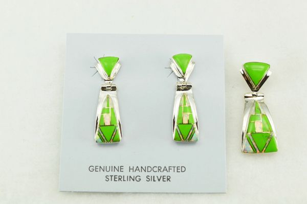Sterling silver gaspeite and white opal inlay candy corn shaped earrings and pendant set. S198