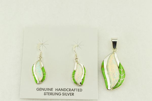 Sterling silver gaspeite and white opal inlay flame shaped earrings and pendant set. S200