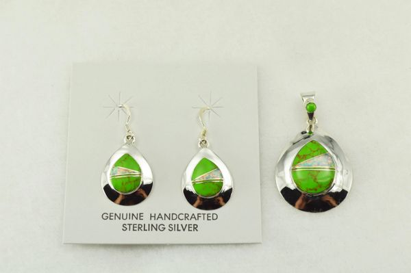 Sterling silver gaspeite and white opal inlay raindrop shaped earrings and pendant set. S201