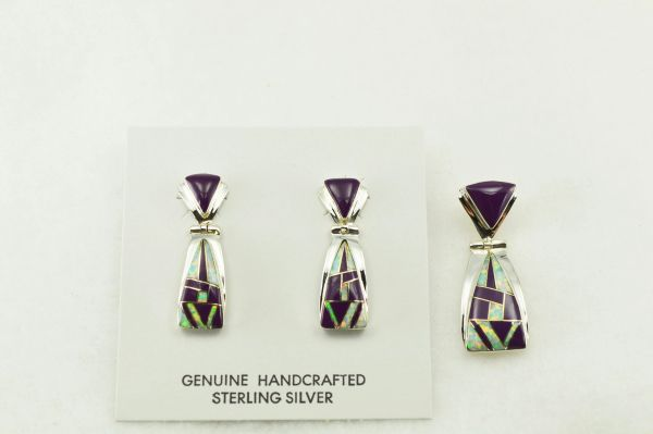 Sterling silver sugilite and white opal inlay candy corn shaped earrings and pendant set. S202