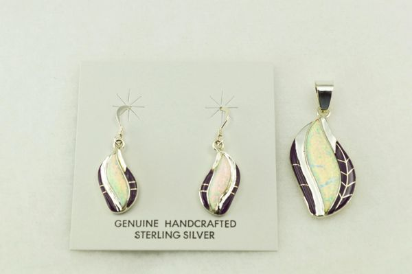 Sterling silver sugilite and white opal inlay flame shaped earrings and pendant set. S206