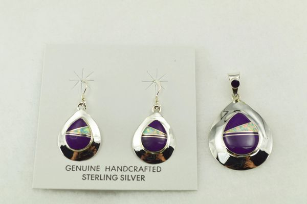 Sterling silver sugilite and white opal inlay teardrop shaped earrings and pendant set. S207