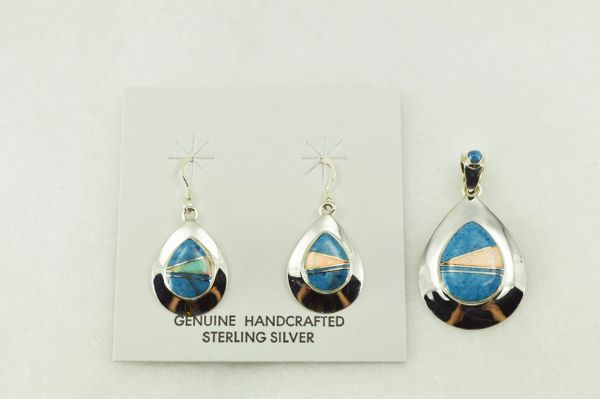 Sterling silver denim lapis and white opal inlay teardrop shaped earrings and pendant set. S209