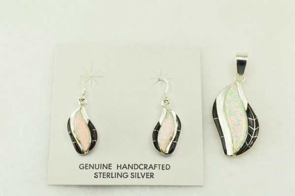 Sterling silver black onyx and white opal inlay flame shaped earrings and pendant set. S210