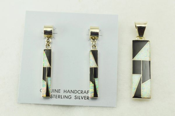 Sterling silver black onyx and white opal inlay rectangle shaped earrings and pendant set. S211