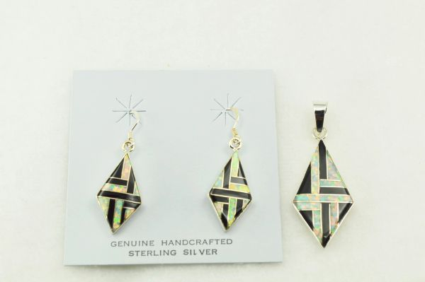 Sterling silver black onyx and white opal inlay diamond shaped earrings and pendant set. S212