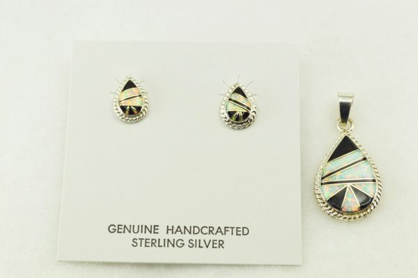 Sterling silver black onyx and white opal inlay teardrop edged earrings and pendant set. S214