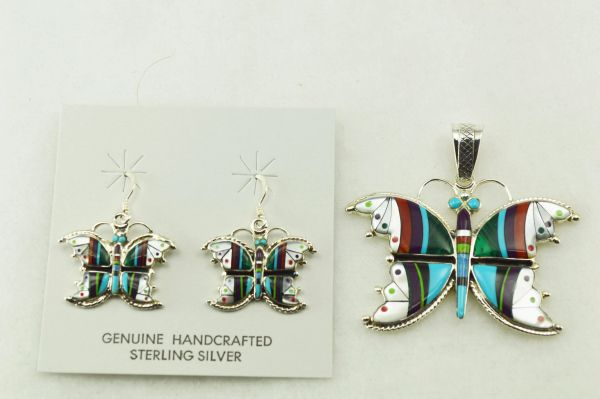 Sterling silver multi color inlay butterfly earrings and pendant set. S225
