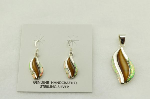 Sterling silver white opal and tiger eye inlay flame shaped earrings and pendant set. S230