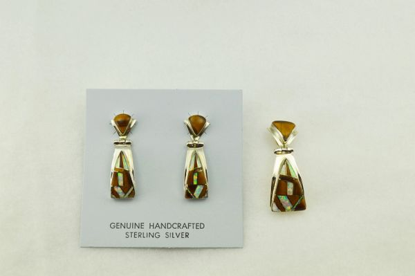 Sterling silver white opal and tiger eye inlay triangle shaped earrings and pendant set. S232