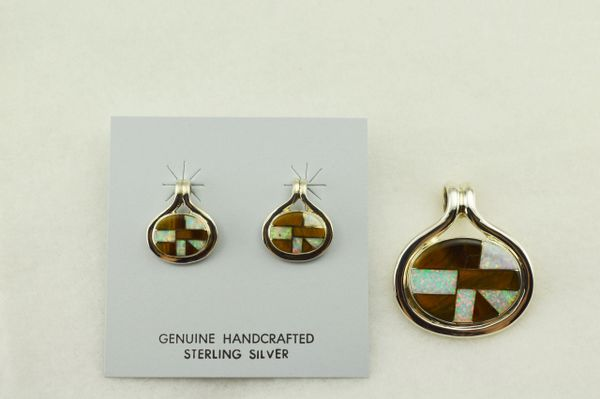 Sterling silver white opal and tiger eye inlay oval earrings and pendant set. S235