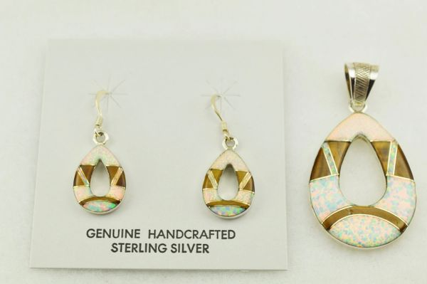 Sterling silver white opal and tiger eye inlay hollow oval earrings and pendant set. S236