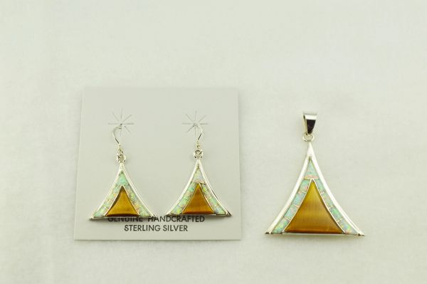 Sterling silver white opal and tiger eye inlay tent shaped earrings and pendant set. S237