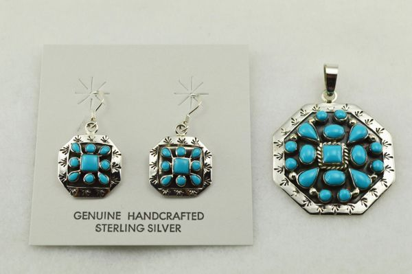 Sterling silver turquoise multi shape earrings and pendant set. S238
