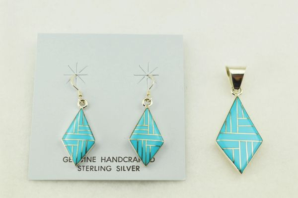 Sterling silver turquoise inlay diamond shaped earrings and pendant set. S241