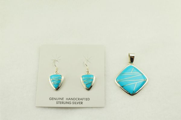 Sterling silver turquoise inlay earrings and pendant set. S242