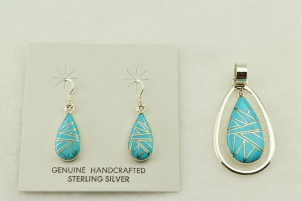 Sterling silver turquoise inlay corn cob shaped earrings and pendant set. S243