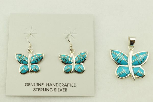 Sterling silver turquoise inlay butterfly earrings and pendant set. S246