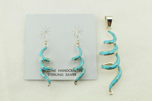 Sterling silver turquoise inlay spiral earrings and pendant set. S252