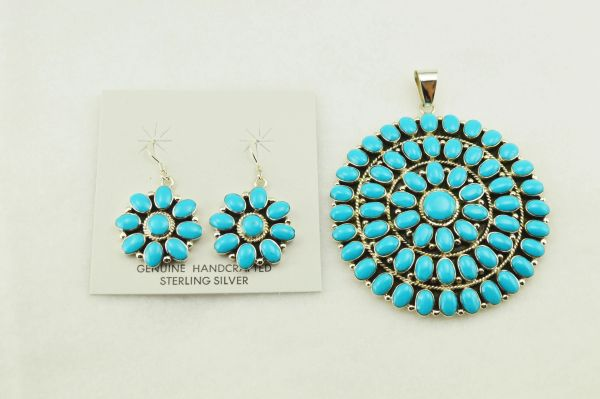 Sterling silver turquoise large multi stone oval earrings and pendant set. S253