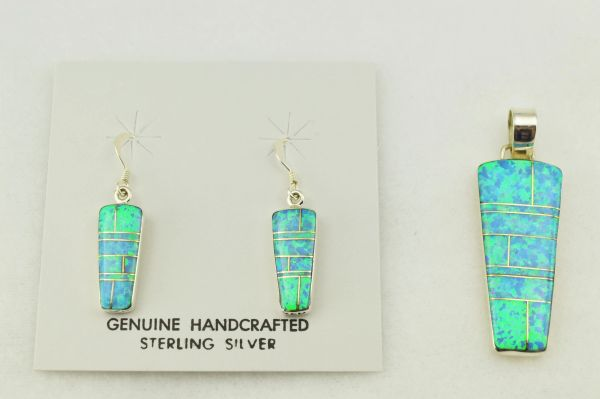 Sterling silver blue opal inlay pillar shaped earrings and pendant set. S254