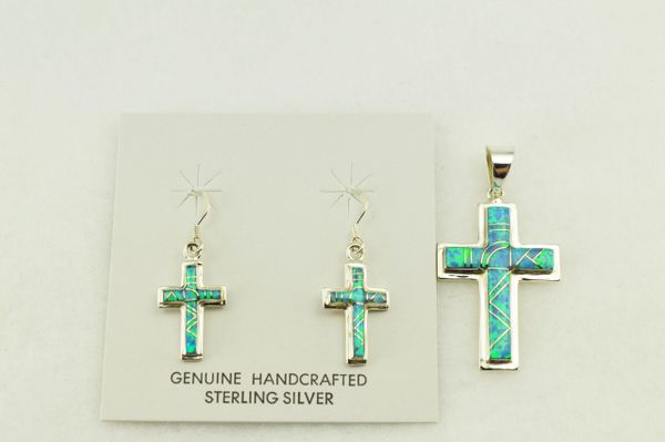 Sterling silver blue opal inlay cross earrings and pendant set. S258