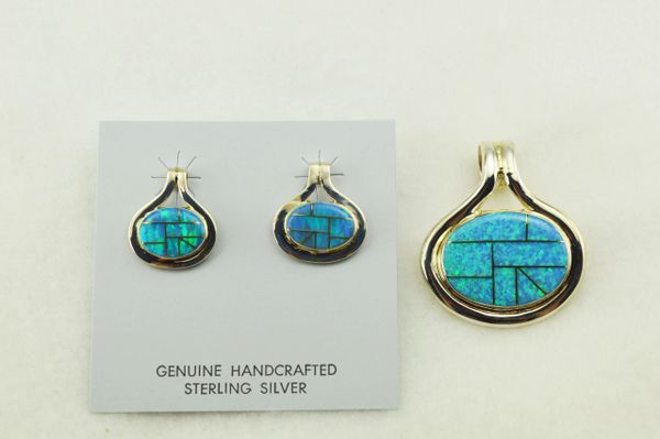 Sterling silver blue opal inlay oval earrings and pendant set. S262