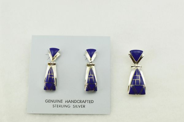 Sterling silver lapis inlay triangle shaped earrings and pendant set. S268