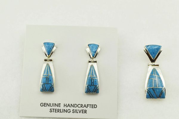 Sterling silver denim lapis inlay triangle shaped earrings and pendant set. S269