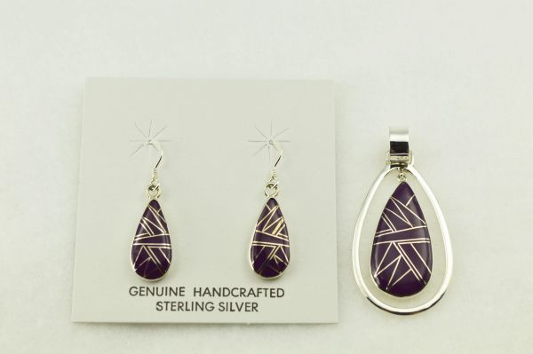Sterling silver sugilite inlay raindrop shaped earrings and pendant set. S275