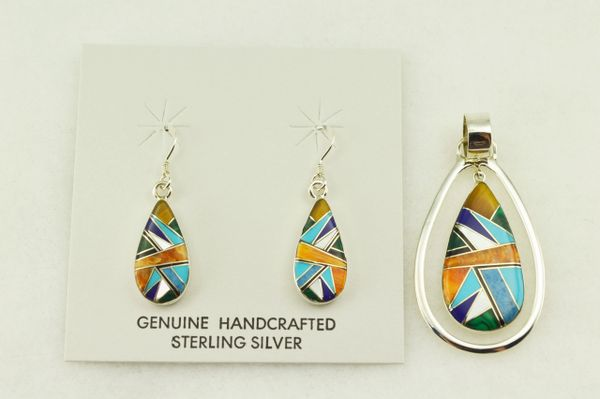 Sterling silver multi color inlay raindrop shaped earrings and pendant set. S276