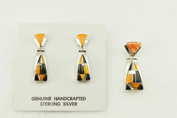Sterling silver multi color inlay triangle shaped earrings and pendant set. S277