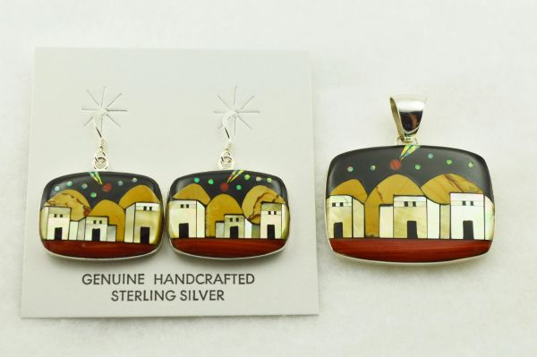 Sterling silver multi color inlay rounded rectangle adobe style earrings and pendant set. S280