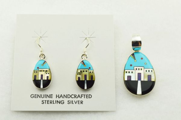 Sterling silver multi color inlay egg shaped adobe style earrings and pendant set. S281