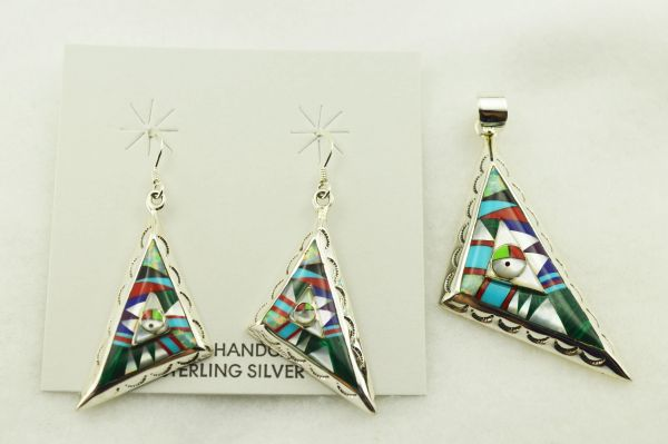 Sterling silver multi color inlay fancy triangle earrings and pendant set. S284