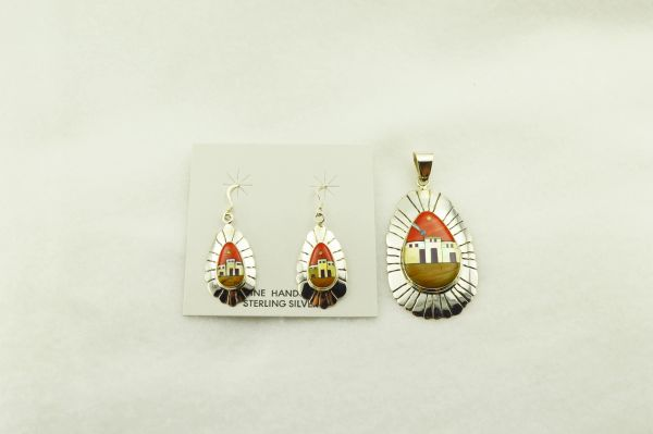 Sterling silver multi color inlay oval with edge adobe style earrings and pendant set. S285