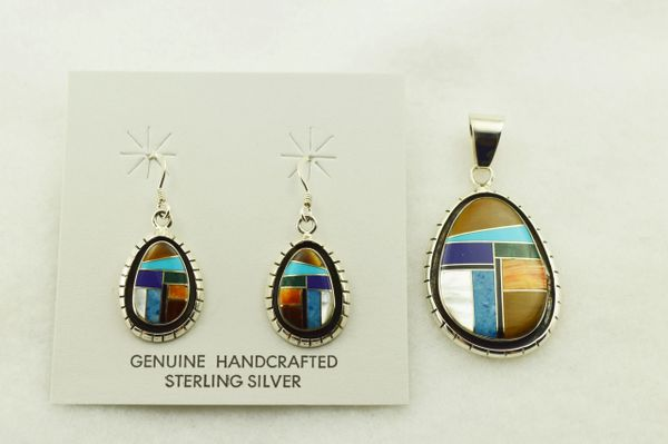 Sterling silver multi color inlay oval with edge earrings and pendant set. S286