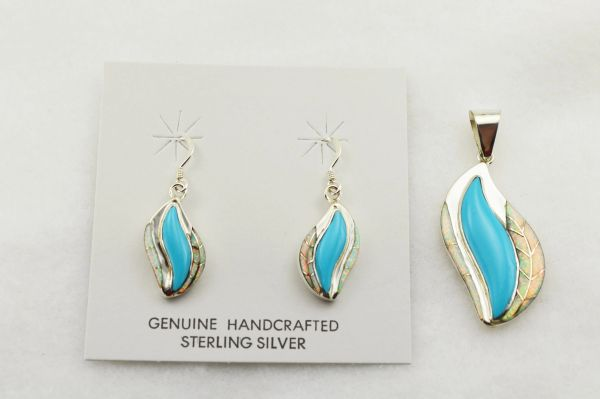 Sterling silver white opal and turquoise inlay flame shaped earrings and pendant set. S291